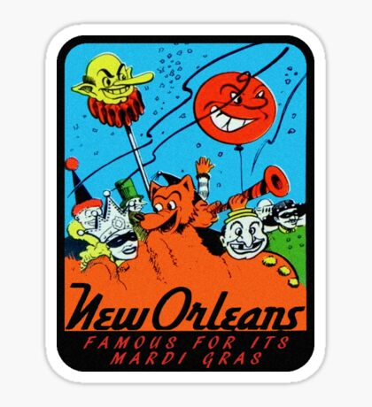 Mardi Gras New Orleans Vintage Travel Decal Sticker