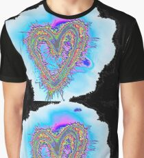 electric blue heart with black background Graphic T-Shirt