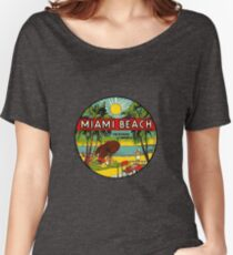 Miami Beach Florida Vintage Travel Decal 3 Women's Relaxed Fit T-Shirt
