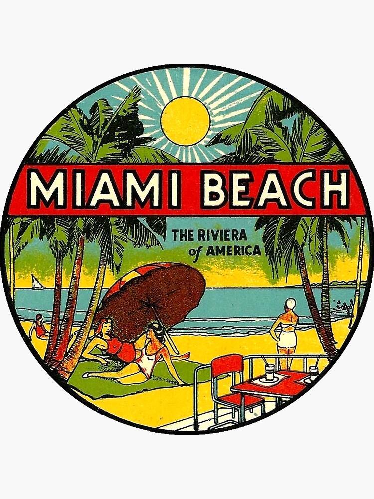 Miami Beach Florida Vintage Travel Decal 3 by hilda74