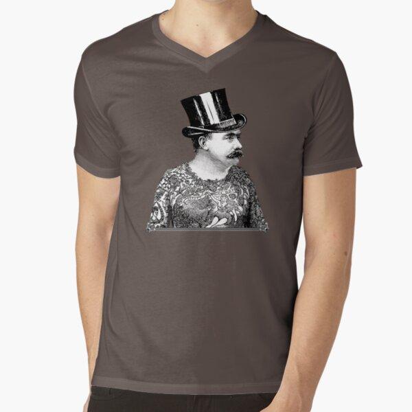 Tattooed Victorian Man | Victorian Tattoos | Vintage Tattoos | Tattoo Art |  V-Neck T-Shirt