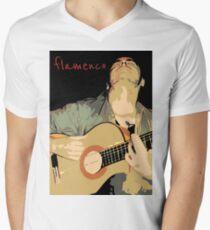 Flamenco guitarra Camiseta para hombre de cuello en v