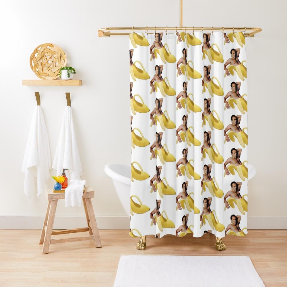 Nicolas Cage In A Banana - Original Yellow Shower Curtain