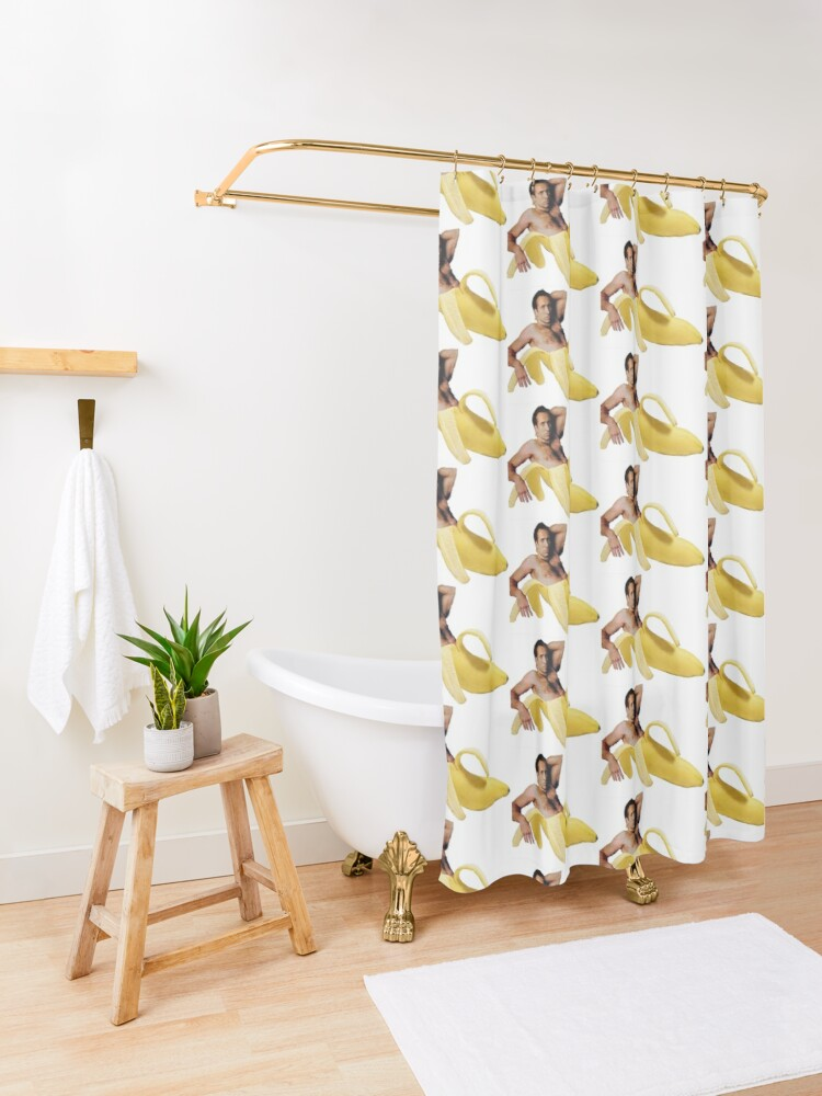 Alternate view of Nicolas Cage In A Banana - Original Yellow Shower Curtain