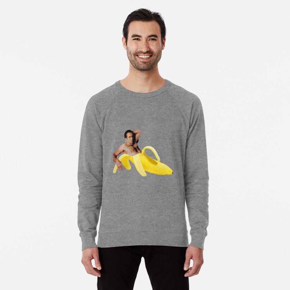 Nicolas-Käfig in einer Banane - helles Gelb Leichtes Sweatshirt Vorne