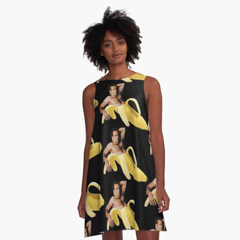 Nicolas-Käfig in einer Banane - ursprüngliches Gelb A-Linien Kleid Vorne