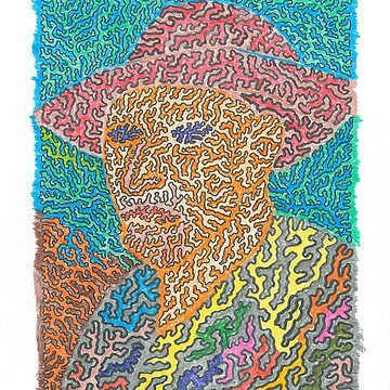 Vibrant Fractal Van Gogh Pastel Portrait  by MaxwellAbstract