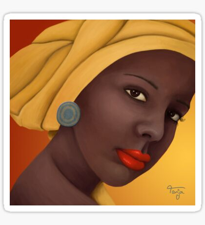 Woman with round earring Sticker
