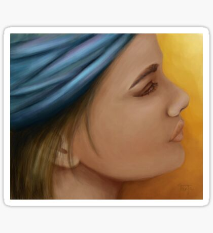Woman with blue bandana Sticker
