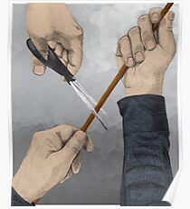 Hands and scissors Poster