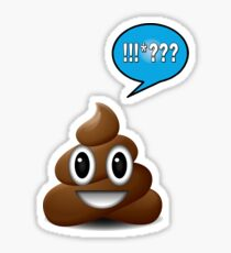 poo emoji poop with speech bubble exclamation Sticker