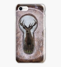 stag through a keyhole iPhone Case/Skin