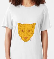 Camiseta ajustada Cougar Mountain Lion Head Mono Line