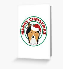 Merry Christmas Collie Dog Greeting Card