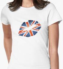 United Kingdom Flag Lips Womens Fitted T-Shirt