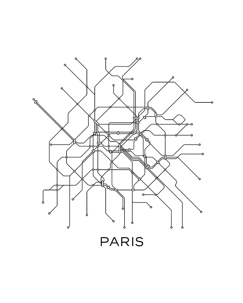 paris subway mapblack white linesvintage map retroprint parismetro map posterparis mapprintablemetro mapsubway parissubway map