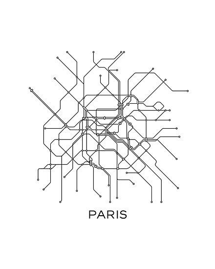 paris subway mapblack white linesvintage map retroprint paris