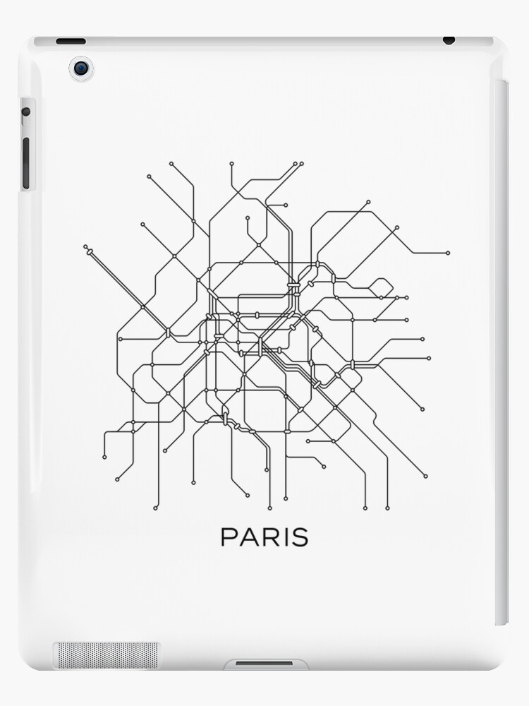 Paris Subway MapBlack White LinesVintage Map RetroPrint Paris - Paris metro map print