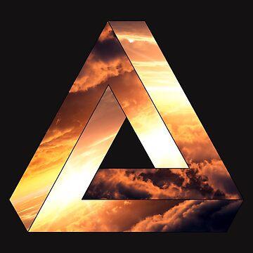 Abstract Geometry: Penrose Fire Storm (Burning Orange/Black) by Talminator