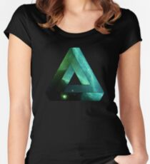 Abstract Geometry: Penrose Nebula (Ethereal Blue/Green) Women's Fitted Scoop T-Shirt