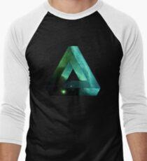 Abstract Geometry: Penrose Nebula (Ethereal Blue/Green) Men's Baseball ¾ T-Shirt