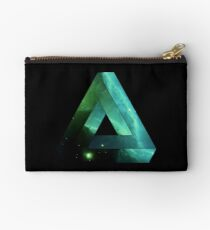 Abstract Geometry: Penrose Nebula (Ethereal Blue/Green) Studio Pouch