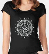 Namaste Om Mehndi Henna Style Mandala Women's Fitted Scoop T-Shirt