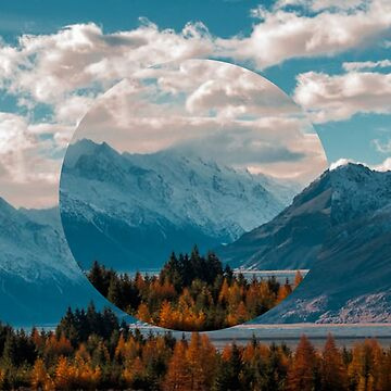 Mountain and Tree Landscape Circle Design by devonguinn