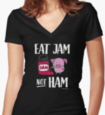 "Funny Vegan Pig - ""Eat Jam Not Ham"" Women's Fitted V-Neck T-Shirt"