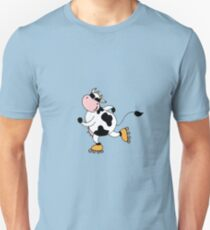 Cute smile cow on roller Unisex T-Shirt