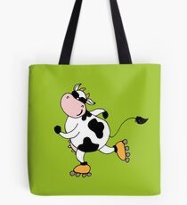 Cute smile cow on roller Tote Bag