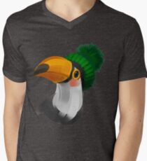Cute toucan bird in a winter knitted hat Mens V-Neck T-Shirt
