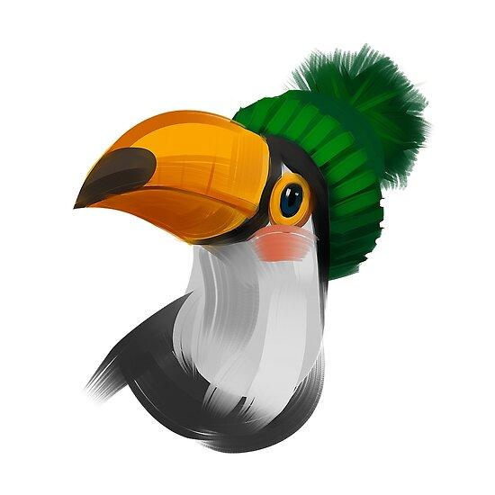 1bed92bdd3e Cute toucan bird in a winter knitted hat