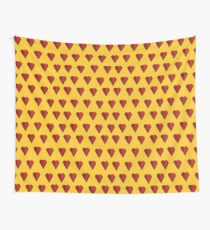 Red heart on yellow retro background Wall Tapestry
