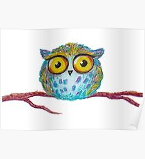 Funny blue owl with the yellow eyes Poster