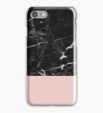 Black Marble on Rose Gold iPhone Case/Skin