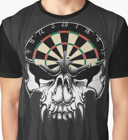 Darts Skull and Flames Graphic T-Shirt