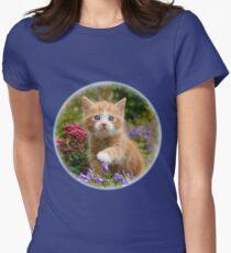 Cute Ginger Cat Kitten in a Garden Photo Portrait Womens Fitted T-Shirt
