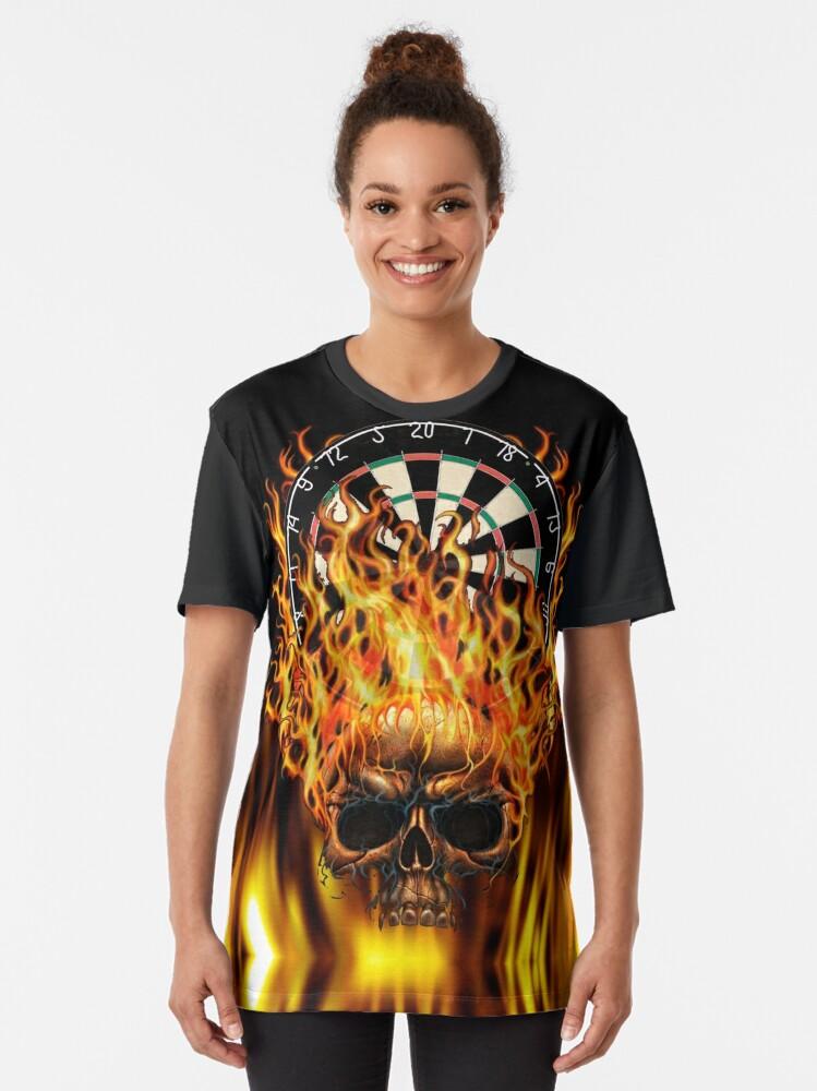Alternate view of Flaming Skull Dartboard Graphic T-Shirt