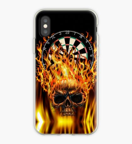 Flaming Skull Dartboard iPhone Case