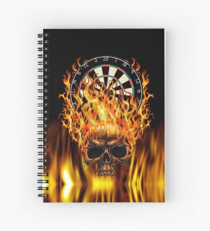 Flaming Skull Dartboard Spiral Notebook