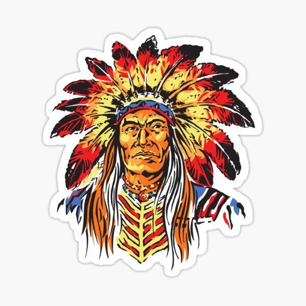 Geronimo Apache Warrior legend arrow with feathers  sticker