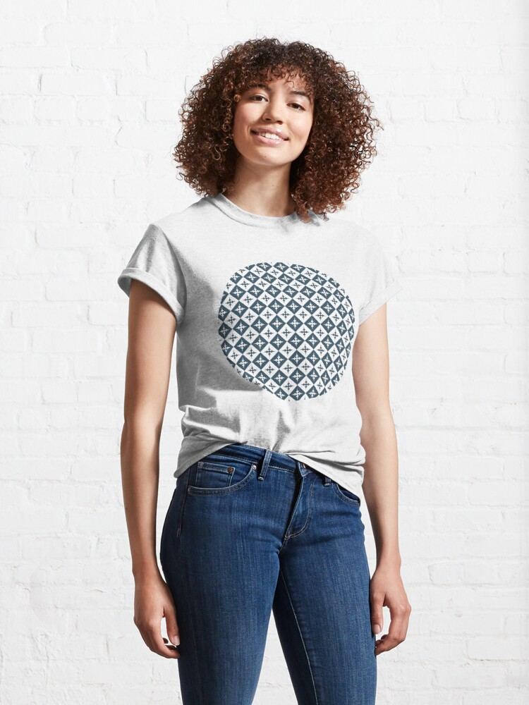 Alternate view of Tile pattern - Blue and White Classic T-Shirt