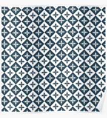 Tile pattern - Blue and White Poster