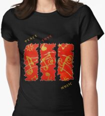 RED GOLD SONG MUSICAL NOTES PEACE LOVE MUSIC Womens Fitted T-Shirt