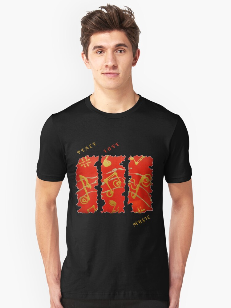 Alternate view of RED GOLD SONG MUSICAL NOTES PEACE LOVE MUSIC Slim Fit T-Shirt
