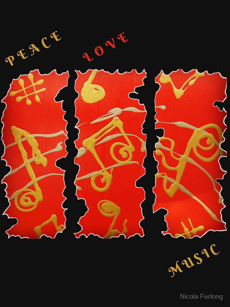 RED GOLD SONG MUSICAL NOTES PEACE LOVE MUSIC by nicolafurlong