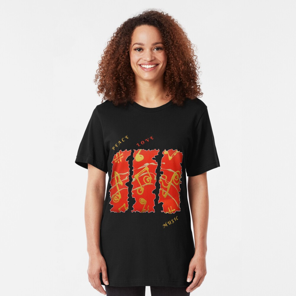 RED GOLD SONG MUSICAL NOTES PEACE LOVE MUSIC Slim Fit T-Shirt