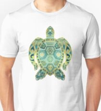 Royal Sea Turtle - turquoise and gold Unisex T-Shirt