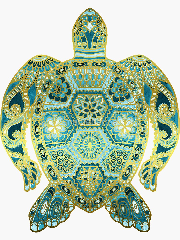 Royal Sea Turtle - turquoise and gold by maryedenoa